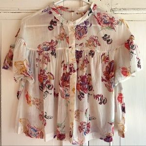 Free People Sweet Escape floral button down top
